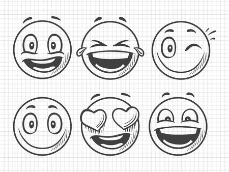 Emojis positifs dessinés à la main, croquis de vecteur de sourire. Illustration d'emoji et d'émotion, visage d'expression de sourire, croquis d'émoticône