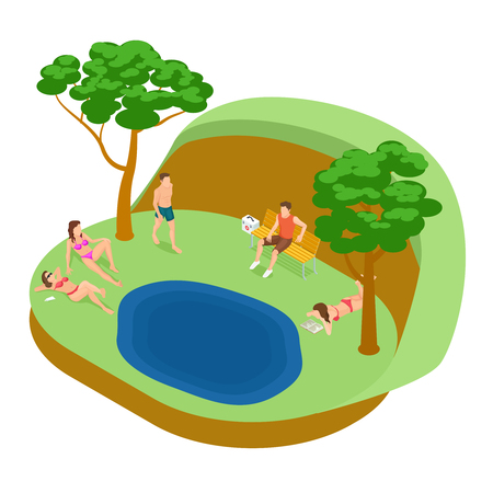 Lakeside beach, tan women and men isometric vector concept. Illustration of park landscape with lake Stock Illustratie
