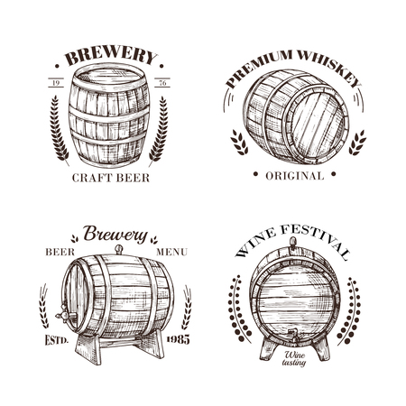 Brewery emblem. Barrel of beer and wine, whiskey and brandy sketch vector vintage labels with wooden cask and typographic design. Cask beer, wine and whiskey in keg illustration Vektorové ilustrace
