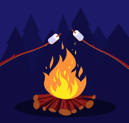 Bonfire and marshmallow. Friends in night camping at campfire. Marshmallow vector concept. Illustration of bonfire and marshmallow roasting Foto de archivo - 124965648