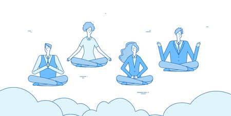 Meditation businessmen. People relax in zen yoga lotus positioning in office. Employees avoid stress vector concept. Illustration of employee concentration, position yoga