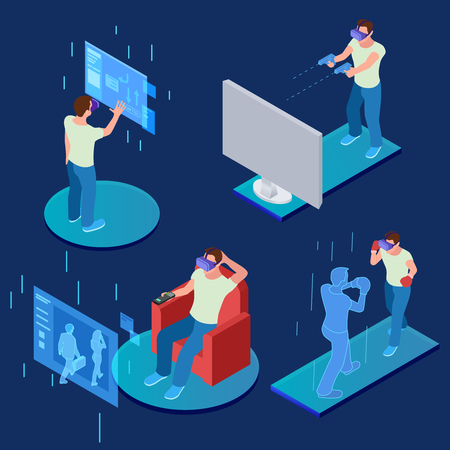 Virtual reality gaming, sporting, relaxing isometric vector concept. Illustration of virtual reality, entertainment gaming controlled 일러스트