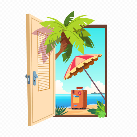 Opened spring door isolated on transparent background. Open entrance with summer landscape outdoor. Doorway to sea beach, paradise and travel illustration Illustration
