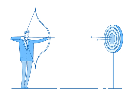 Man shoots bow. Arrow targeting in target, businessman precision shooting. Aim reaching business benefit accomplishment vector concept. Goal and target, success archery illustration