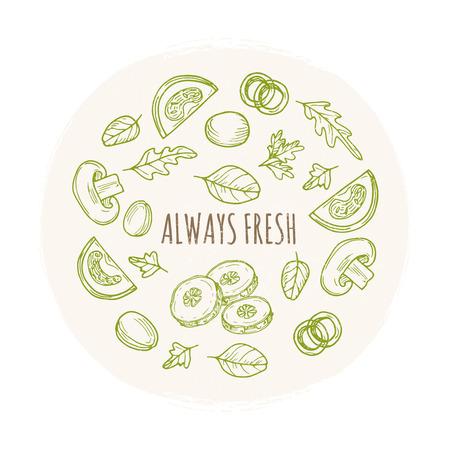 Always fresh grunge banner design with hand drawn vegetables. Fresh food sketch, vegetable organic illustration