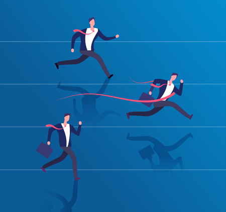 Businessman crossing finish line. Success achievement, leadership and winning business vector concept. Illustration of competition finish, success and victory
