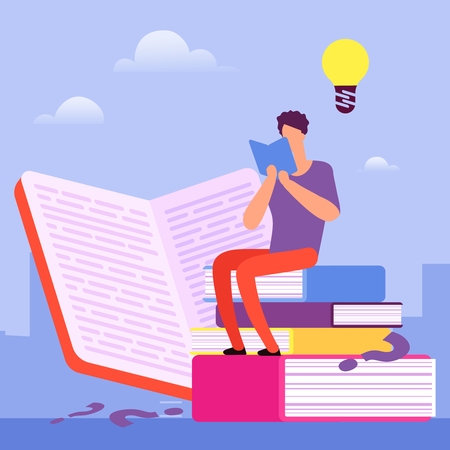 Search for answers to questions in books. Self education vector concept. Illustration of education and study, sitting and learning
