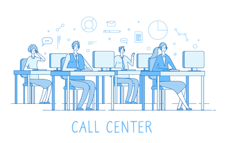 Call center concept. Customer support service helpdesk services call center computers operator supporting client vector line concept. Operator contact helpdesk, phone support illustration