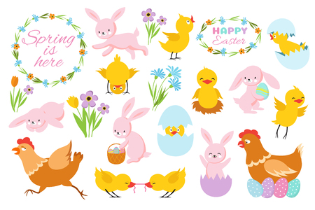 Easter bunny, chicks and spring flowers. Funny rabbits, baby chickens and eggs. Cartoon easter spring vector set of happy rabbit and chick, holiday easter illustration Illustration