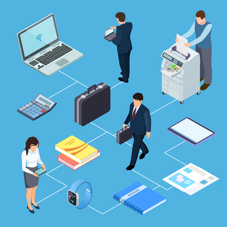 Office equipment, office workers isometric vector concept. Illustration of people woman and man employee