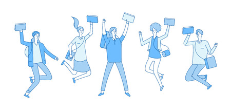 Jumping student. Young happy college students with books friends teenagers smiling in jump. Studying and education line vector concept. Illustration of school student happy jump Illustration