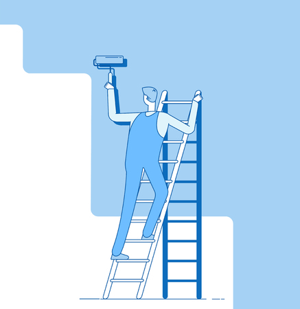 Painter painting wall. Worker on ladder, craftsman paints home walls. House repair service decoration and renovation vector concept. Worker painting wall, housepainter with roller illustration Ilustração