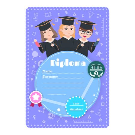Graduate kids diploma. Preschool kindergarten children graduation certificate. Education cartoon childrens diploma vector design. Illustration of preschool education certificate