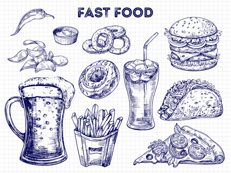 Fast food, snacks and drinks sketches vector illustration. Hamburger sandwich, burger and pizza