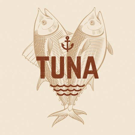 Seafood restaurant or cafe vector banner template with hand drawn engraving tuna fish. Vintage tuna background. Illustration of seafood tuna, sketch engraving emblem 向量圖像