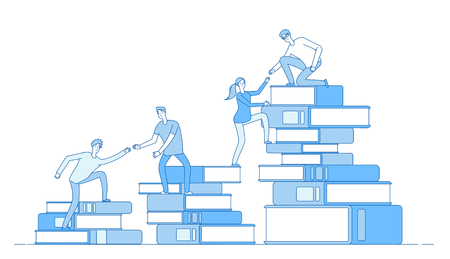 People book pile. Students climbing books business success education level staff skill development learning material vector concept. Illustration of education, stairs climb to stack books