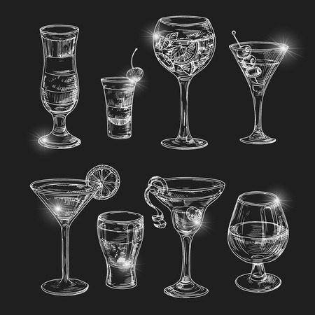 Hand dranw alcoholic cocktail with lights vector illustration. Alcohol cocktail glass, bar drink, beverage sketch
