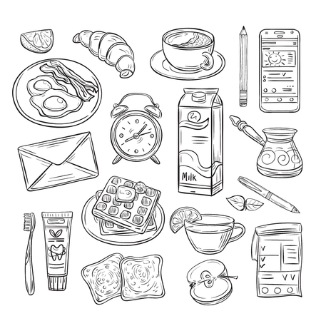 Good morning doodle. Healthy breakfast, happy mood of summer day. Sketch drawing vector set. Illustration of food for menu, coffee and breakfast