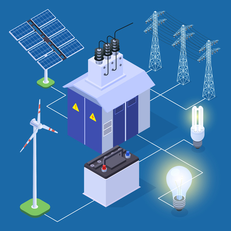 Electric power isometric vector concept with energy generator and solar panels. Illustration of generator power, energy solar Standard-Bild - 124771036