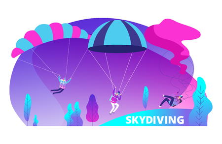 Skydiving vector background with cartoon jumpers. Illustration of extreme parachute, skydiving activity jumper Illustration