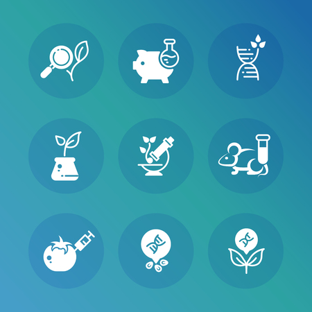 Genetic modification biotechnology and dna research vector icons set. Science research, biotechnology dna icons, genetic and medical illustration