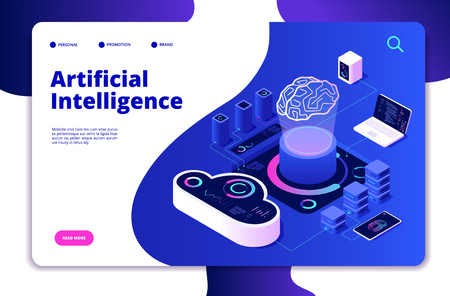 Artificial intelligence landing. Ai smart digital brain networking neural learning intelligent solutions innovations vector concept. Solution innovation mind, technology brain illustration