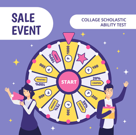 Examinees discount event. SAT work event ability businessman gift high worker college student in uniform classroom test vector concept. Discount event, shopaholic test, promotion offer illustration Illustration