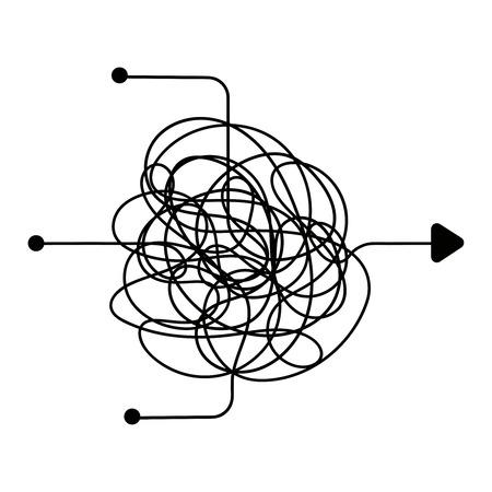 Processo confuso, simbolo della linea del caos. Trovare una via d'uscita, il lavoro di squadra o il concetto di vettore di brainstorming. Affari di confusione del caos complicati, illustrazione caotica confusa