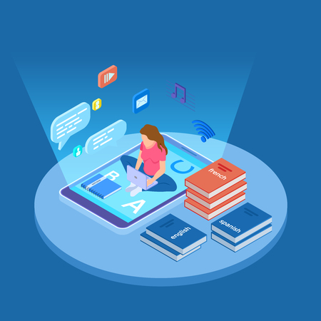 Woman teaches languages with onlline courses isometric vector illustration. Education online, teaching web