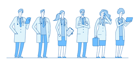 Doctors group. Doctor medicine workers people surgeon nurse pharmacist standing group linear flat healthcare hospital vector concept. Illustration of surgeon and pharmacist, medical profession
