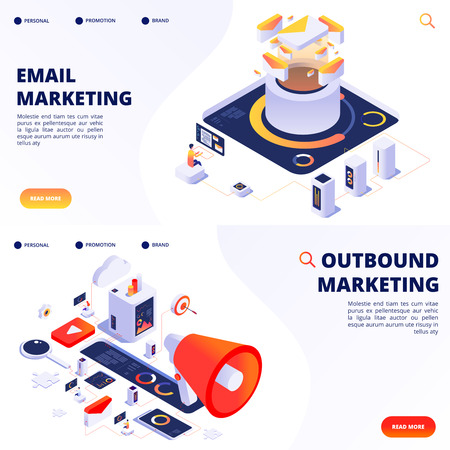 E-mail, outbound, internet marketing vector landing pages templates. Illustration of outbound marketing, e-mail strategy optimize