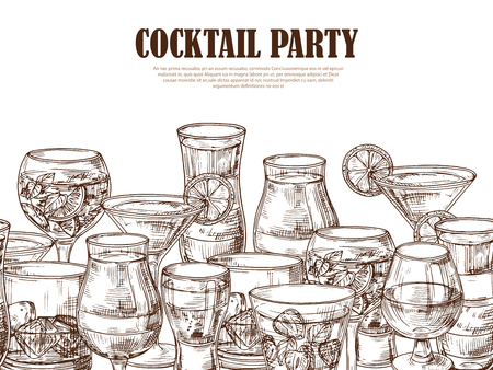 Vector hand drawn alcoholic drinks seamless background. Illustration of party cocktail banner, glass martini drink and beverage sketch