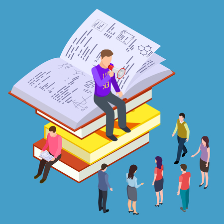 Self education, training and teaching vector isometric concept. Illustration of education and coaching, lesson learning, self-education and teaching Фото со стока - 124771051