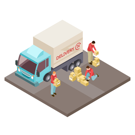 Round the clock delivery service and movers isometric vector concept. Delivery service, truck transport and loader illustration