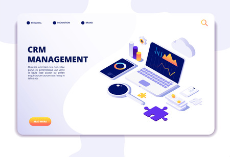 Crm concept. Customer relationship management. Database web system solution. Isometric landing page. Illustration of crm management, strategy market, analysis promotion
