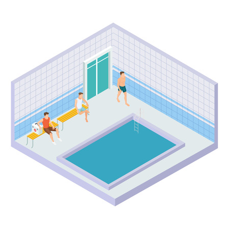 Vector men in water pool isometric concept. Illustration of isometric swim pool, sport healthy indoor