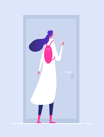 Woman at house door. Female entering building person in doorway girl opening door welcome vector concept. Illustration of woman knocking, at home door