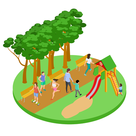 People have relax in park vector isometric concept. Outdoor park, activity people illustration