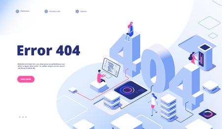 Strona izometryczna 404. Nie działa błąd utracony, nie znaleziony 404 znak problem z projektem wektora lądowania. Ilustracja strony błędu 404, strona internetowa dotycząca izometrii 3D Ilustracje wektorowe