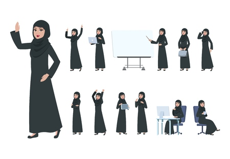 Arab businesswoman. Saudi muslim business woman character. Islam arabian female in business activity, cartoon office lady vector set. Illustration of businesswoman saudi, arabic female