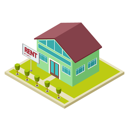 Rent cottage or house isometric vector concept. Illustration of house real cottage Illustration