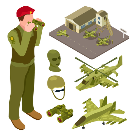 Military air force base isometric with helicopter, fighter aircraft, soldiers vector illustration. Isometric airplane military and air defense