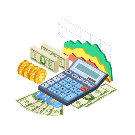 Financial analytics, bookkeeping vector concept. Cash, credit cards, coins, calculator and graphics isometric design. Isometric analytics financial, calculator and finance invest illustration