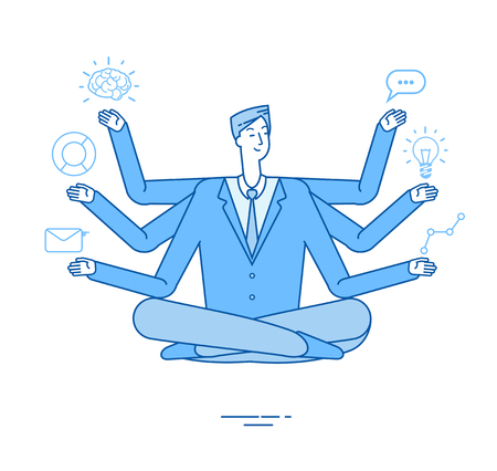 Multitasking businessman. Project manager sitting in relaxation yoga lotus pose thinking on tasks. Effective management vector concept. Multitasking businessman yoga, manager character illustration