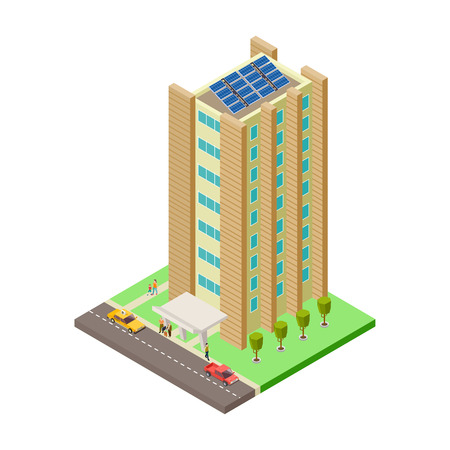 Big apartment house, cars, taxi and people isometric vector illustration. House isometric building, residential isometry exterior, architecture skyscraper