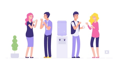Office cooler break. Man and woman drinking water young people talking at cooler social informal meeting business vector concept. Office worker drink water drom cooler illustration