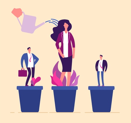 Employees growth. Business professional people in flowerpot development training growing management career human resources vector. Illustration of employee career, growing and watering development Illustration