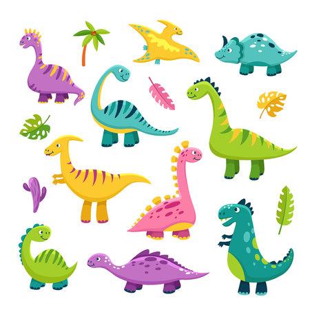 Cute dino. Cartoon baby dinosaur stegosaurus dragon kids prehistoric wild animals brontosaurus isolated dinosaurs vector characters. Illustration of dinosaur animal isolated, jurassic triceratops