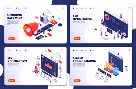 Search engine rank, seo optimization vector isometric landing pages. Seo marketing and analytics, online ranking result. Search engine rank banner, loudspeaker for promote illustration