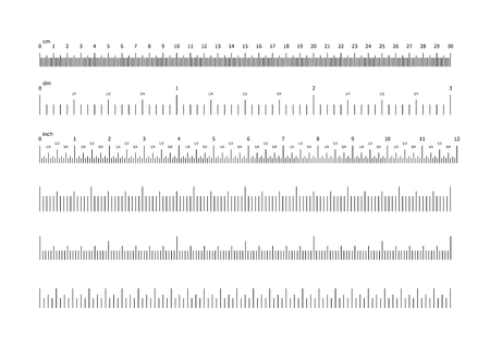 Ruler scale. Inch and cm measuring scales. Horizontal calibration precision size units for rulers and indicators. Vector set of scale ruler, measurement millimeter and centimeter illustration